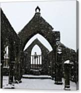 Church Of St Thomas A Becket In Heptonstall In Falling Snow Canvas Print