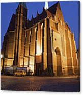 Church Of The Holy Cross By Night In Wroclaw Canvas Print