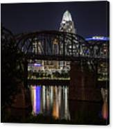 Cincinnati Bridge At Night  Canvas Print