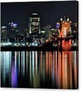Cincinnati Lights The Ohio River Canvas Print