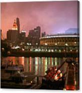 Red Sunset Sky In Cincinnati Ohio Canvas Print