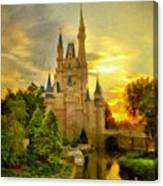 Cinderella Castle - Monet Style Canvas Print