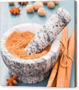 Cinnamon In Mortar Canvas Print