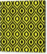 Circle And Oval Ikat In Black N05-p0100 Canvas Print