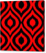 Circle And Oval Ikat In Black T02-p0100 Canvas Print