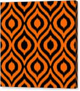 Circle And Oval Ikat In Black T03-p0100 Canvas Print