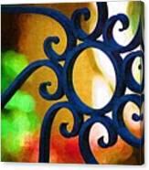 Circle Design On Iron Gate Canvas Print