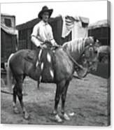 Circus Cowboy On Horse Canvas Print