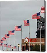 Citifield And American Flags Canvas Print
