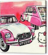 Citroen Dyane Hello Kitty Canvas Print