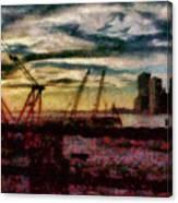 City - Ny - Overlooking The Hudson Canvas Print