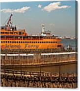City - Ny - The Staten Island Ferry - Panorama Canvas Print