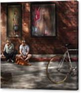 City - Ny - Two Guys And A Dog Canvas Print