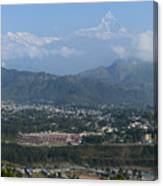 City And Annapurna  View  Canvas Print