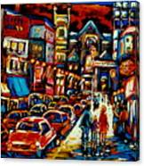 City At Night Downtown Montreal Canvas Print