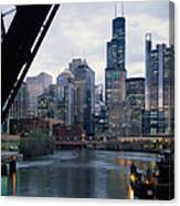 City At The Waterfront, Chicago River Canvas Print