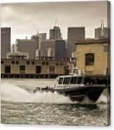 City Bay Police Boat - Color  Canvas Print