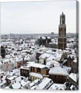 City Centre Of Utrecht With The Dom Tower In Winter Canvas Print