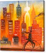 City Cycle In The Warm Evening Canvas Print