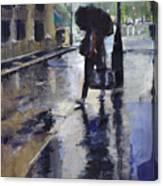 City Evening Rain Canvas Print