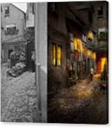 City - Germany - Alley - Coming Home Late 1904 - Side By Side Canvas Print
