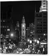 City Hall - Black And White At Night Canvas Print