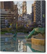 City Hall Reflecting In Swann Fountain Canvas Print