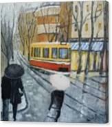 City In Rain Canvas Print