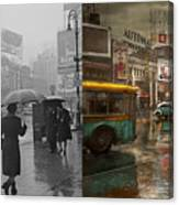 City - Ny - Times Square On A Rainy Day 1943 Side By Side Canvas Print