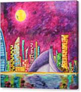 City Of Dubai Pop Art Original Luxe Life Painting By Madart Canvas Print