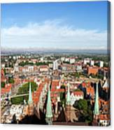 City Of Gdansk Aerial View Canvas Print