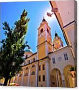 City Of Ljubljana Church And Square View Canvas Print
