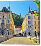 City Of Ljubljana View From Tromostovje Bridge Canvas Print