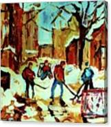 City Of Montreal Hockey Our National Pastime Canvas Print