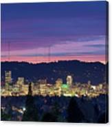 City Of Portland Oregon Skyline At Twilight Canvas Print