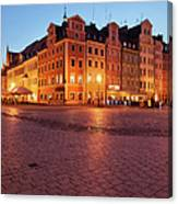 City Of Wroclaw Old Town Market Square At Night Canvas Print