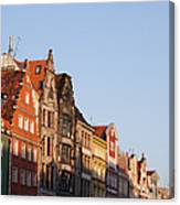 City Of Wroclaw Old Town Skyline At Sunset Canvas Print