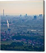 City Of Zagreb Panoramic Aerial View Canvas Print