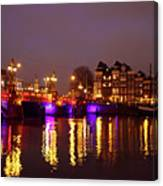 City Scenic From Amsterdam With The Blue Bridge In The Netherlands Canvas Print