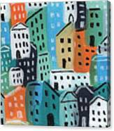 City Stories- Blue And Orange Canvas Print
