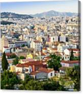 City View Of Old Buildings In Athens, Greece Canvas Print