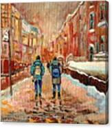 Cityscape In Winter Canvas Print