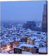 Cityscape Of Utrecht With The Dom Tower  In The Snow 13 Canvas Print