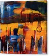 Cityscape On Orange Canvas Print