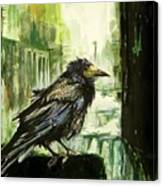 Cityscape With A Crow Canvas Print