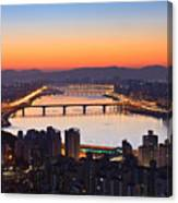 Cityscape With River Before Sunrise Canvas Print