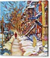 Cityscene In Winter Canvas Print
