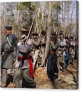 Civil War Soldiers March Through Woods Canvas Print