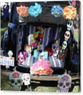 Classic Car Day Of Dead Decor Trunk Canvas Print