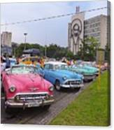 Classic Cars In Revolutionary Square Cuba Canvas Print